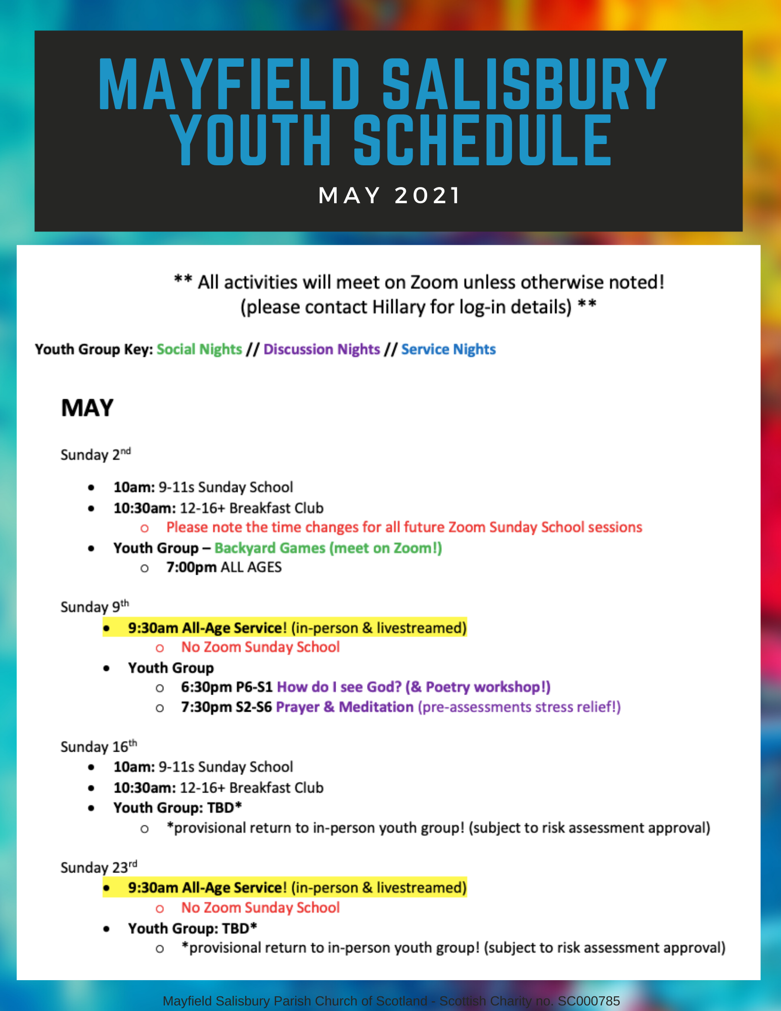 may 2021 youth schedule